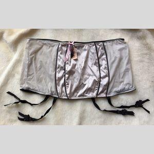 NWT Victoria's Secret Silver Garter Belt Skirt L